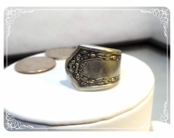 Silver Spoon Ring - Big chunky Wide Art Deco Style Ring      1987a-122512000