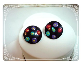 1970s Pop Art Polkadot Pierced Earrings - Black Button   E207a-04081200