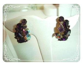 Red Garnet & Aurora Borealis Teardrop Rhinestone Earrings - E150a-04081200