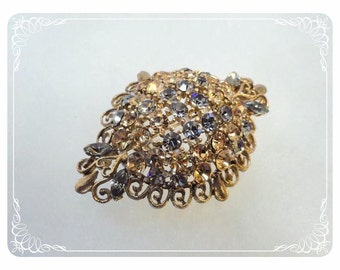 Domed Amber & Smoke Rhinestones Brooch with Goldtone Curly Q's  1473a-030513010