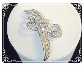 Vintage Crystal Clear Rhinestone  Leaf Brooch  Silver Tone 1286a-042613000