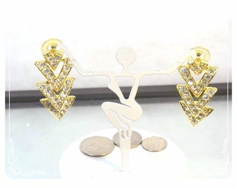 Rhinestone Chevron Vintage Earrings for Pierced Ears   E178a-022313000