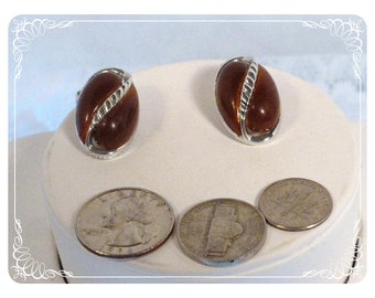 Vintage Oval Football Lucite Earrings - Clip on     E939a-082012000