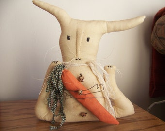 Primitive Grungy Spring Easter Bunny Fabric Art Doll/Shelf Sitter With Carrot and Rusty Wire