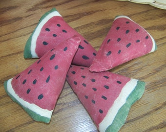 Set of 4 Primitive Grungy Watermelon Wedge Bowl Fillers/Tucks Summer Decor