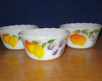 Gay Fad Style hand painted Custard or Dessert Bowls with fruit and scalloped edge