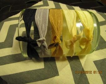 Elastic hair ties, elastic hair ribbons, pony tail holder, no dent pony tail holder, no dent hair ties, katy's clips