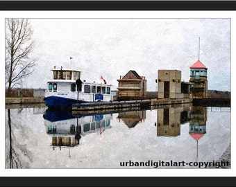 At The Locks-LOW COST- Instant  Downloadable Art Print -Will look Beautiful On Any Wall At Home Or Office