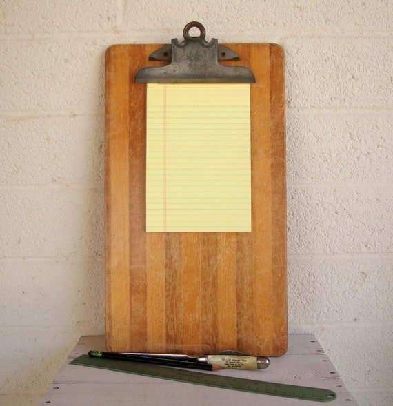 Vintage Industrial Striped Wood Clipboard Mid By