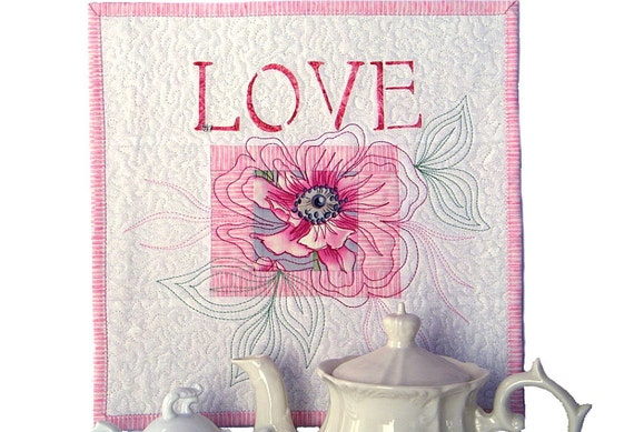 Art Wall Hanigng Quilt, Cottage Chic Wall Decor Under 50