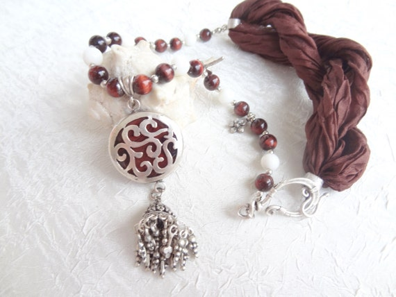 White&Brown Agate Stone, Silver Plated  Zamaks Necklace-Brown Silk Necklace-Afghan Tassel Chain Necklace, OOAK, Valentines,