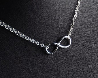 Sterling Double Chain Infinity Necklace Small, Eternity Dainty Infinity Sterling Jewelry