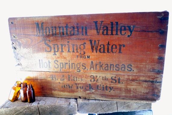 Vintage Wooden Box Mountain Valley Spring Water Hot Springs