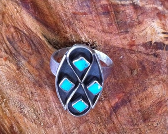 Beautiful Patina Turquoise and Sterling Oval with Infinity Symbol Diamond Geometrics