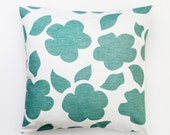 Mint Decorative pillow cover- cotton throw pillows - pastel color floral ornament print cushion case - 16x16   0225