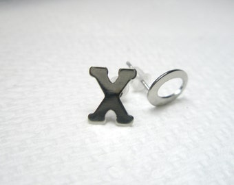 Letter post earrings -Alphabet Letter  studs- Initial Mini earrings