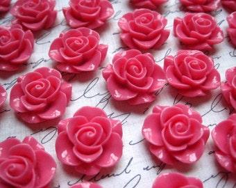 Resin Rose Flower, 6pcs Dark Pink Resin Flower Cabochon, Perfect for Bobby Pins, Rings, Earrings