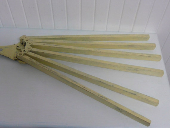 Vintage Yellow Wooden Dish Tea Towel Rack Holder Or Laundry