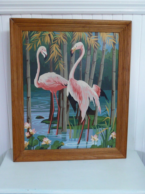 1950s Flamingos Paint By Number Painting By Newlifevintagervs