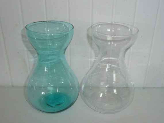 Vintage Flower Bulb Forcing Vases Turquoise And Clear Glass
