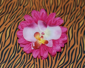 Bright Pink & Pale Pink Daisy and Orchid Pinup Rockabilly Tiki Hair Flower with Glitter