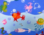 Cute Under the Sea 11x14 art PRINT from my original painting, cute little colorful fishes, octopus, sea horse etc