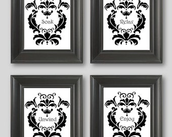 Damask Bathroom Etsy - Black and white bathroom towels for bathroom decor ideas
