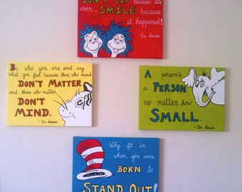 12x16 Dr Seuss quote paintings - acrylic on a 12x16 canvas original handmade painting