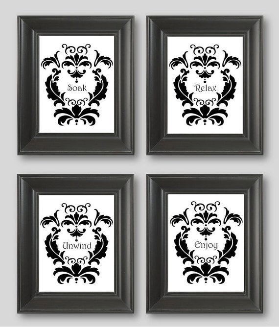 black and white artwork for bathroom items similar to black and white damask design set of 25097 | il 570xN.455551845 kps4