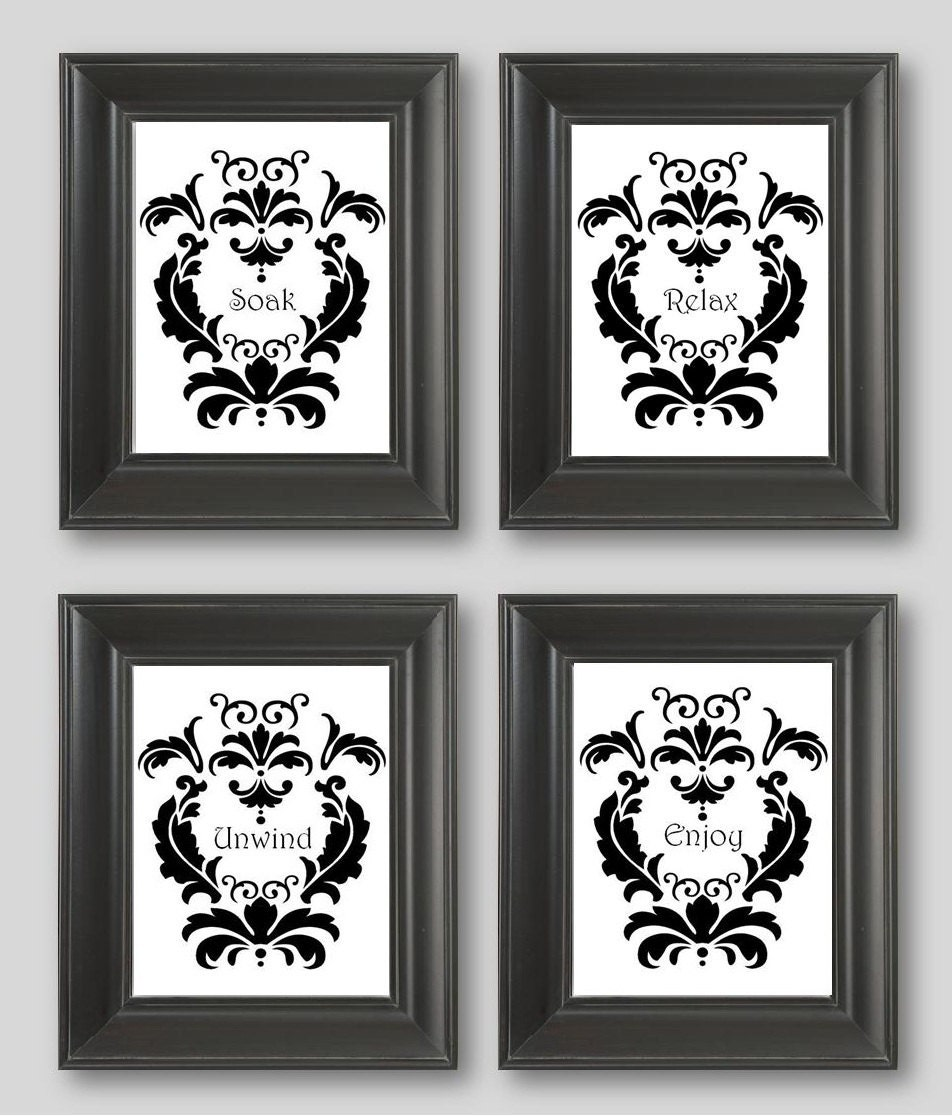 Black and white damask design set of four 11x14 art prints for Black and white bathroom sets
