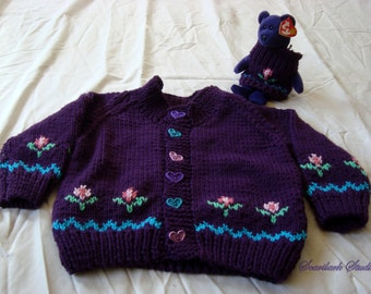 Hearts & Flowers Girls hand-knittted purple cardigan sweater