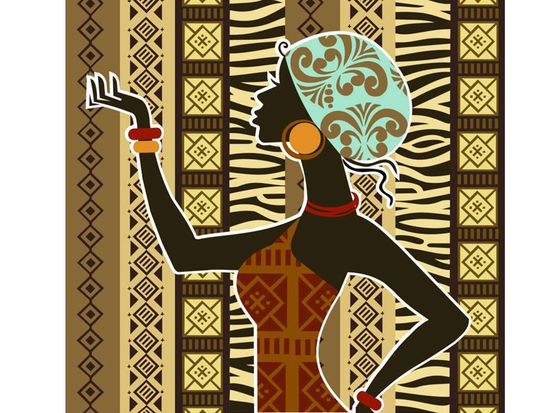 African artwork african woman african painting by iqstudio for African mural painting