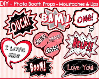 Speech Bubbles- Printable Photo Booth Props - DIY - Printables - Weddings - Parties - DIY Photo Booth Props - 1615