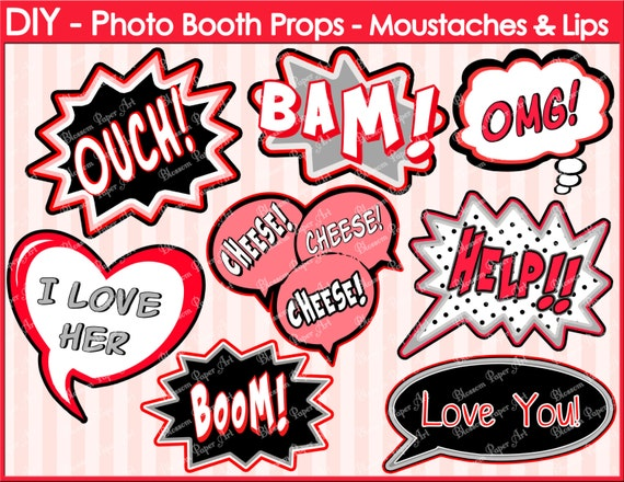 Speech bubbles printable photo booth props diy printables for Photo booth speech bubble template