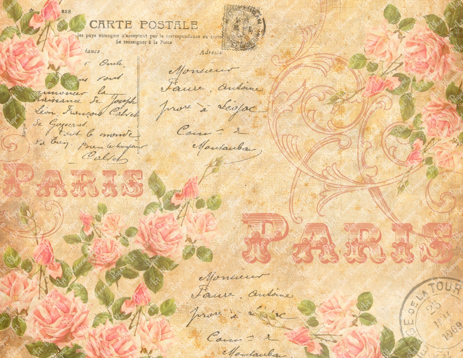 Shabby chic collage sheet vintage pink roses scrapbooking - Papel vintage pared ...