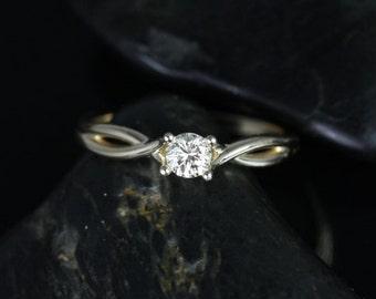Rosados Box Erika 3.5mm 14kt Yellow Gold Round Diamond Double Twist Engagement Ring