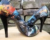 BATMAN comic book decoupaged high heels shoes