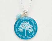 Family Tree Necklace | Mothers Necklace | Sterling Silver Mothers Day Grandmother Necklace