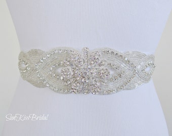 LOTUS Crystal Bridal Sash,Beaded Sash