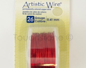 Red Artistic Wire 26 Gauge 15 Yards Colored Copper Wire