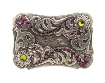 "Engraved Amethyst Crystal Trophy Belt Buckle 1 1/2"""