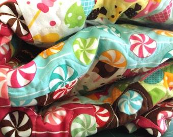 Quilt, Adult Teen or Child's Blanket - Lollipops, Ice Cream Cones and Sundaes