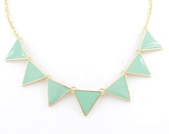 Beautiful Gold-tone Mint Green Triangle/Pyramid Funky Statement Necklace