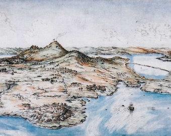 "Shawmut Boston 1630, intaglio etching hand-colored, 10x19"", historical Boston art."