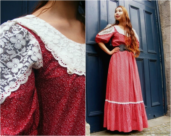 Vintage 70s Hippie Prairie Girl Wedding Dress Gown S M: 70s Prairie Dress / Calico Dress / Red Floral Maxi Hippie