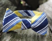 Yellow and Navy Striped Button Adjustable Bow Tie (Self Tie)