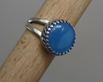 Blue Agate ring - Sterling Silver stone Ring - Adjustable Open Band Crown bezel ring