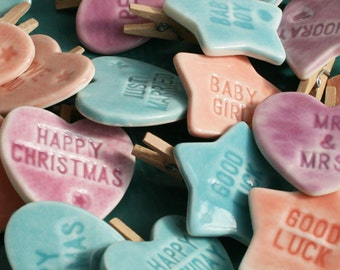 Any 10 Pegs, Porcelain Heart and Star Greetings Pegs