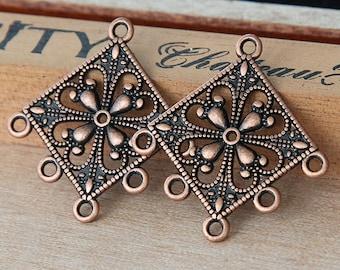 4 pcs Chandelier Component, Antique Copper, 36mm Diamond - eTS014AC