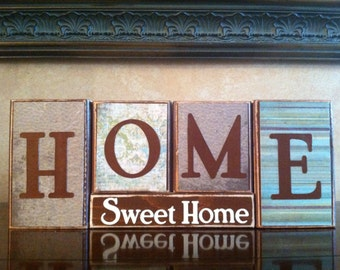HOME SWEET HOME Wood Block Sign / Home Decor / Fireplace mantel or bookshelf decor